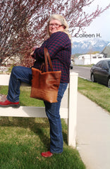 cowhide brown tote bag