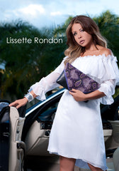 Lissette Rondon, Miami fashion blogger with a purple python and textured leather clutch