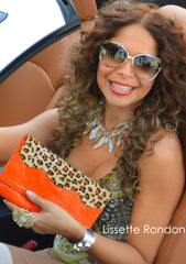 orange snake skin leopard print calf hair clutch