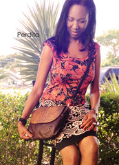 Perdita Law with leather croc leather crossbody bag