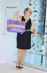 purple leather stingray tote bag