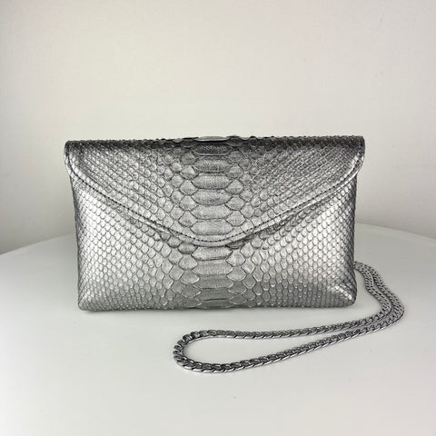 CLASSIC ENVELOPE BAG, ANTIQUED SILVER EXOTIC
