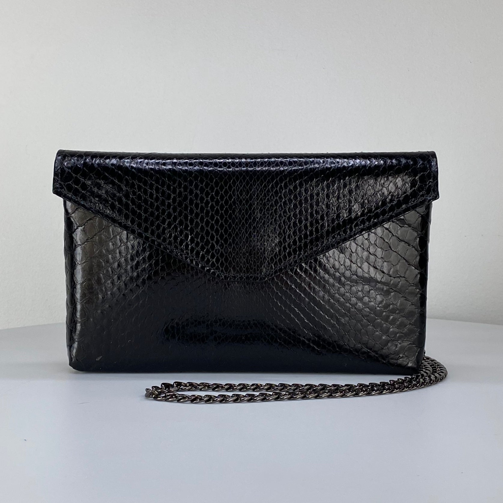 CLASSIC ENVELOPE BAG, BLACK EXOTIC