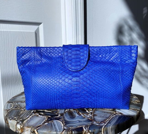 NELLY POUCH BAG, COBALT BLUE EXOTIC