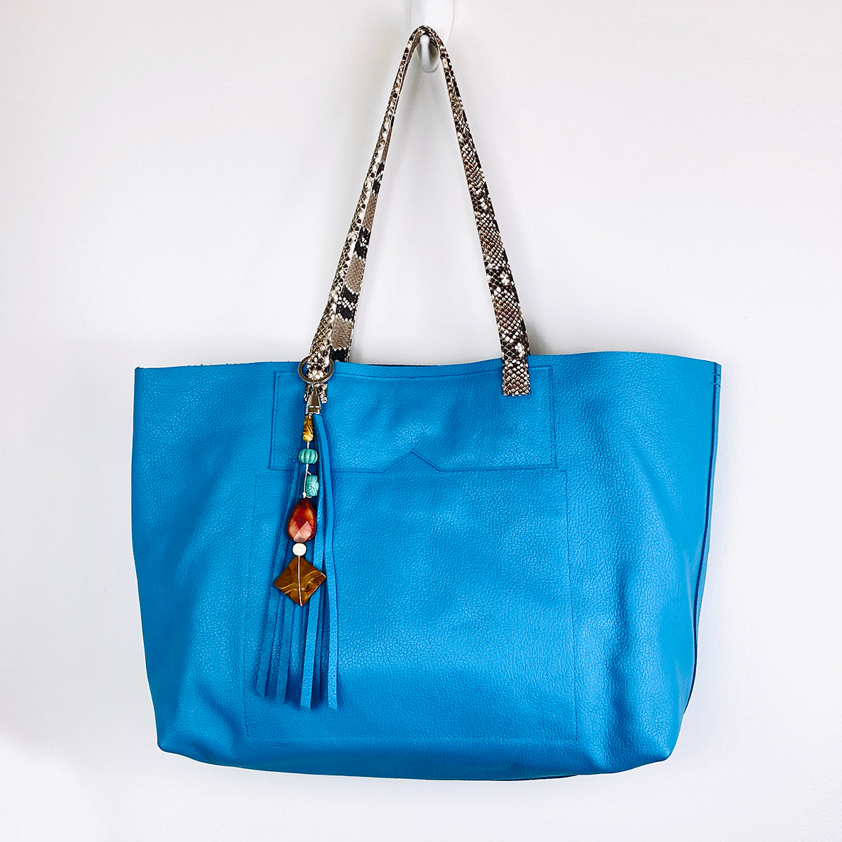 BRUNY CERULEAN GENUINE LEATHER TOTE, SNAKESKIN, STONE TASSEL
