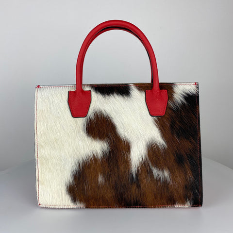 ANGELA STRUCTURED TOTE, RED & NATURAL CALF HAIR