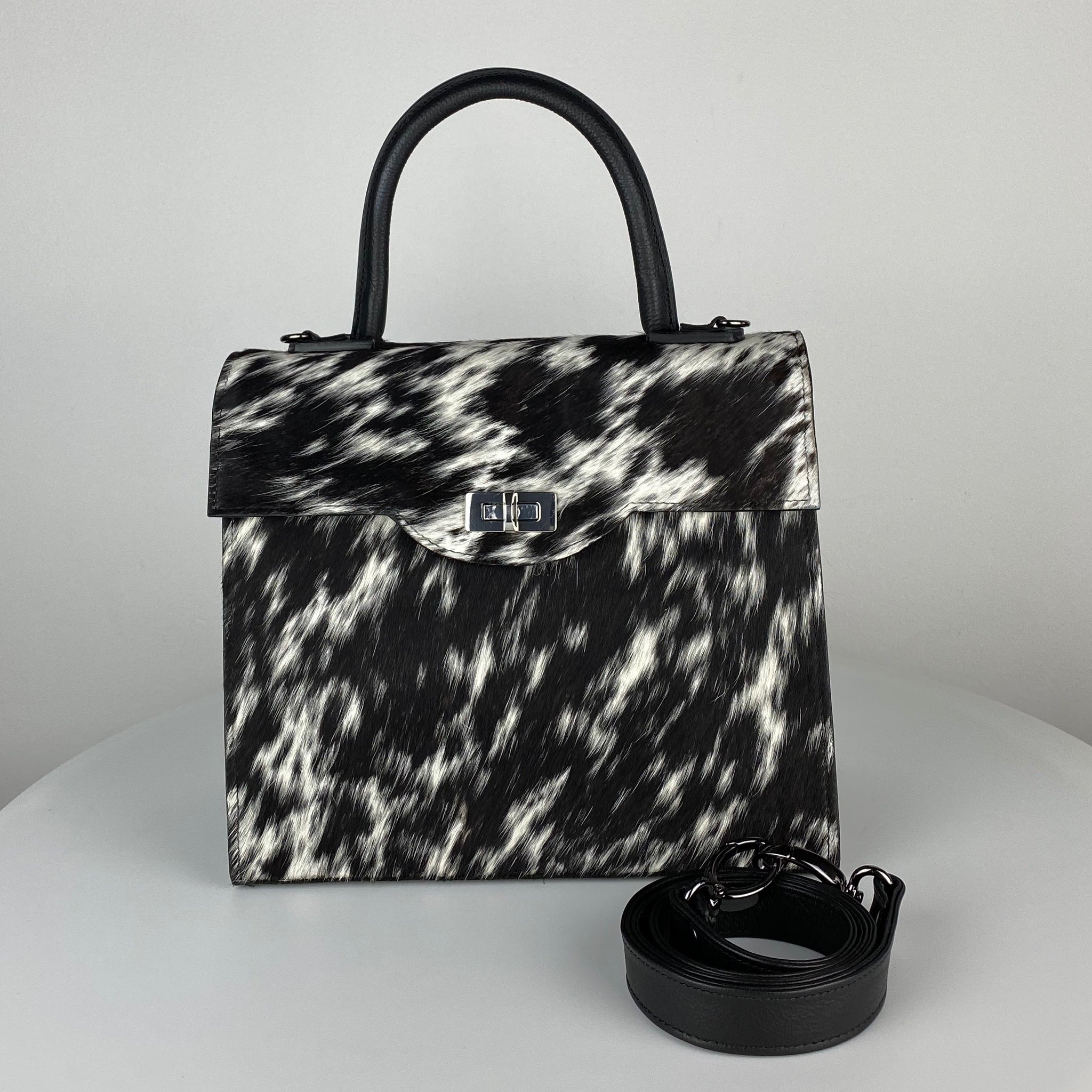 ANGIE STRUCTURED BAG, BLACK & WHITE CALF HAIR