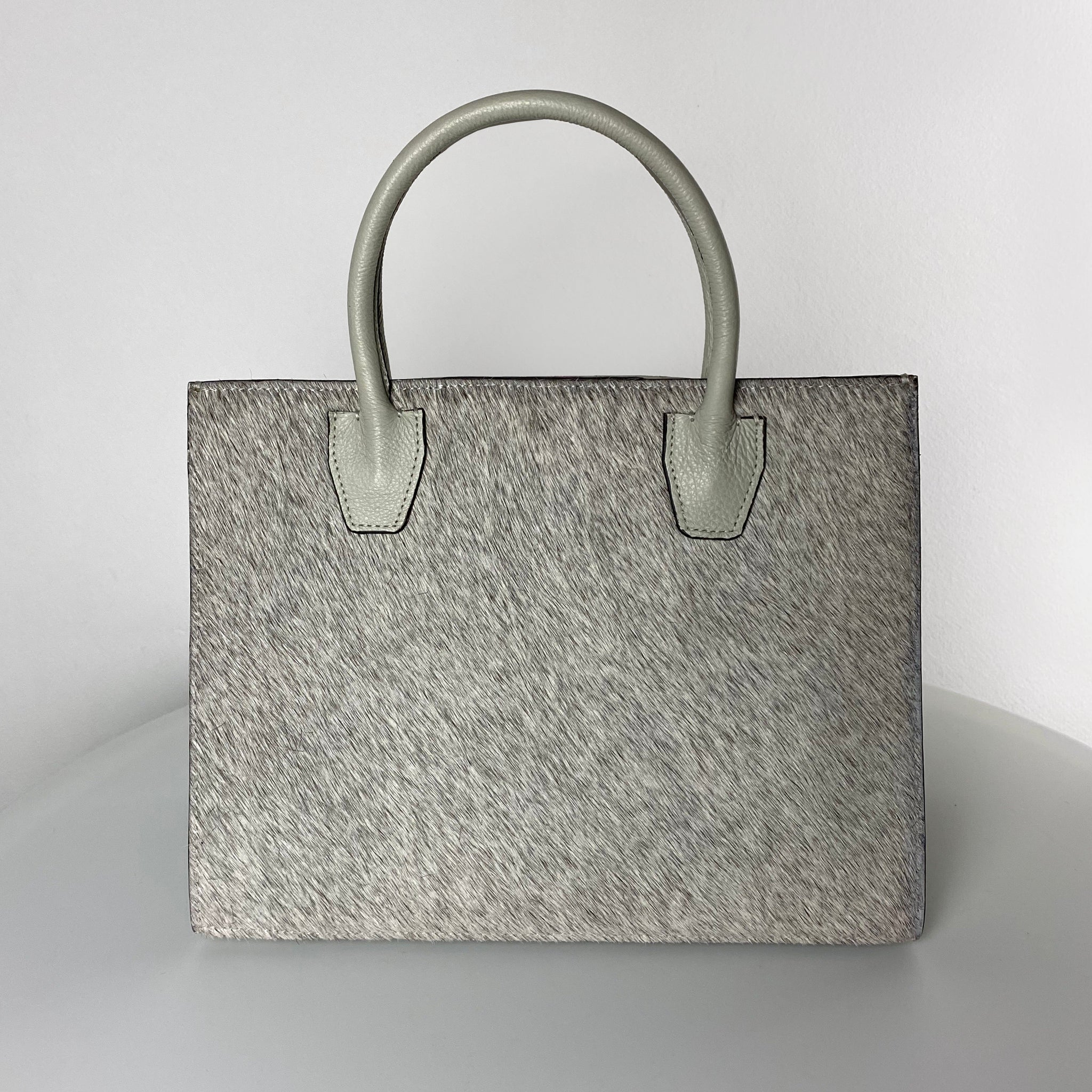 ANGELA STRUCTURED TOTE, GREY & NATURAL CALF HAIR