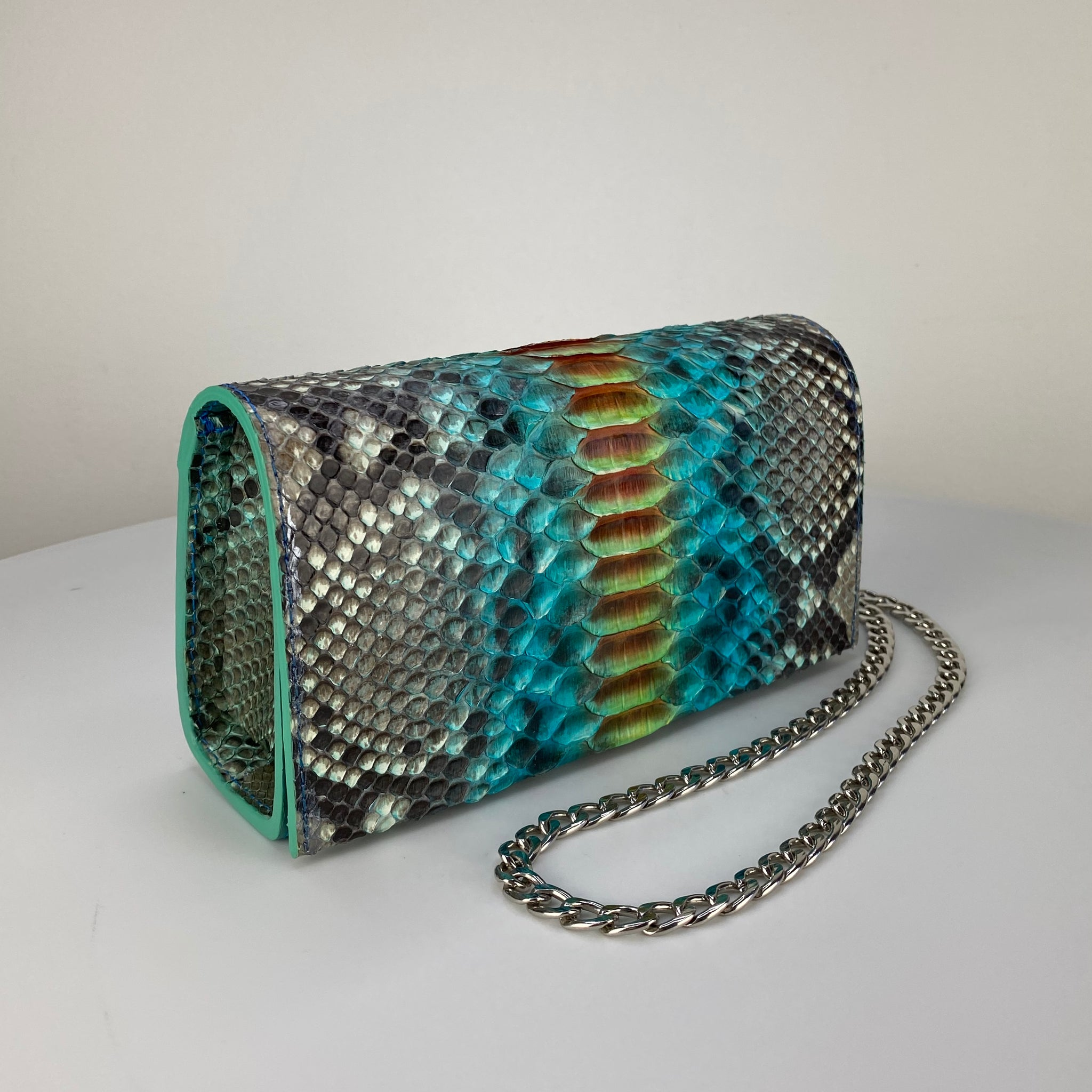 TURQUOISE & ORANGE BOX CLUTCH, EXOTIC