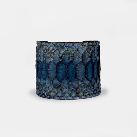INDIGO BLUE SNAKESKIN CUFF S/M ADJUSTABLE