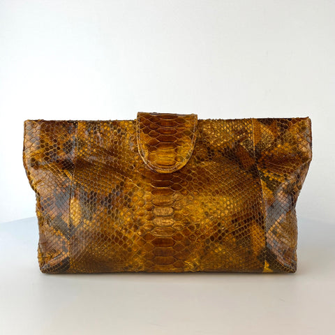 NELLY POUCH BAG, BROWN PYTHON