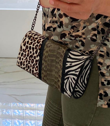 JUNGLE BAG, PATCHWORK ANIMAL-PRINT CALF HAIR, OLIVE