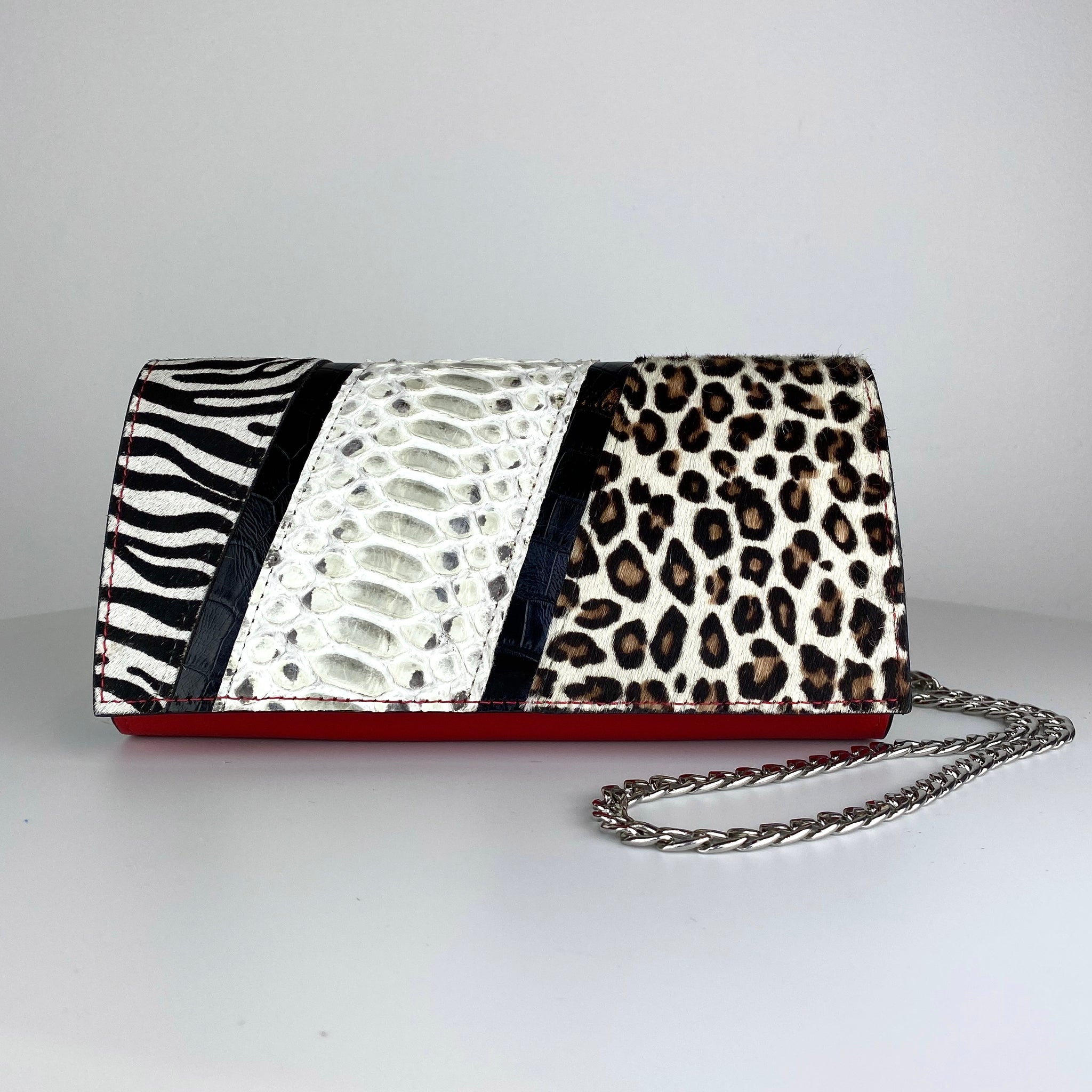 JUNGLE BAG, PATCHWORK ANIMAL-PRINT CALF HAIR, RED