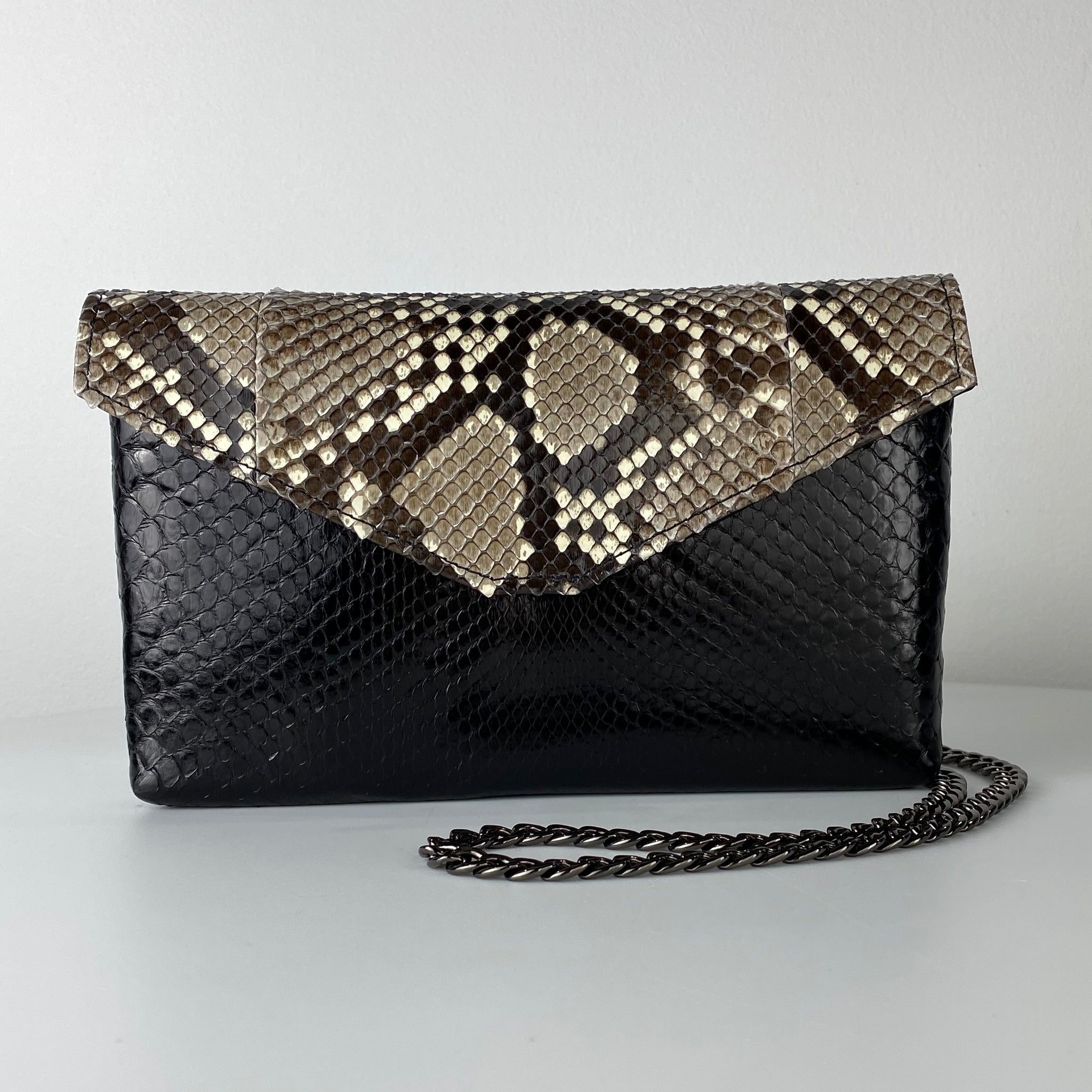CLASSIC ENVELOPE BAG, BLACK & WHITE EXOTIC