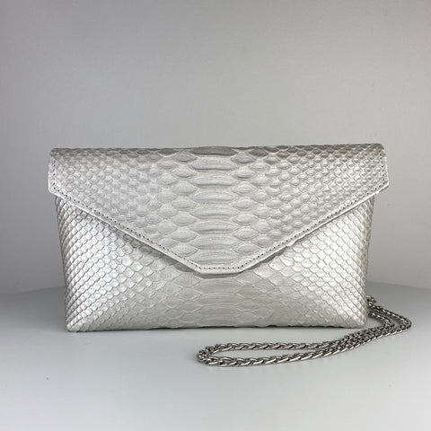 CLASSIC ENVELOPE BAG, SATIN SILVER EXOTIC