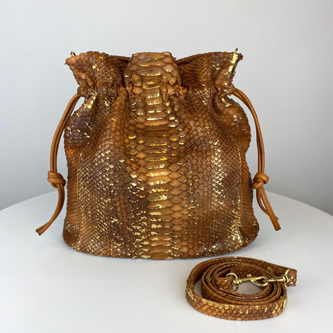 LARGE DRAWSTRING POUCH. TAN & GOLD FOIL. EXOTIC