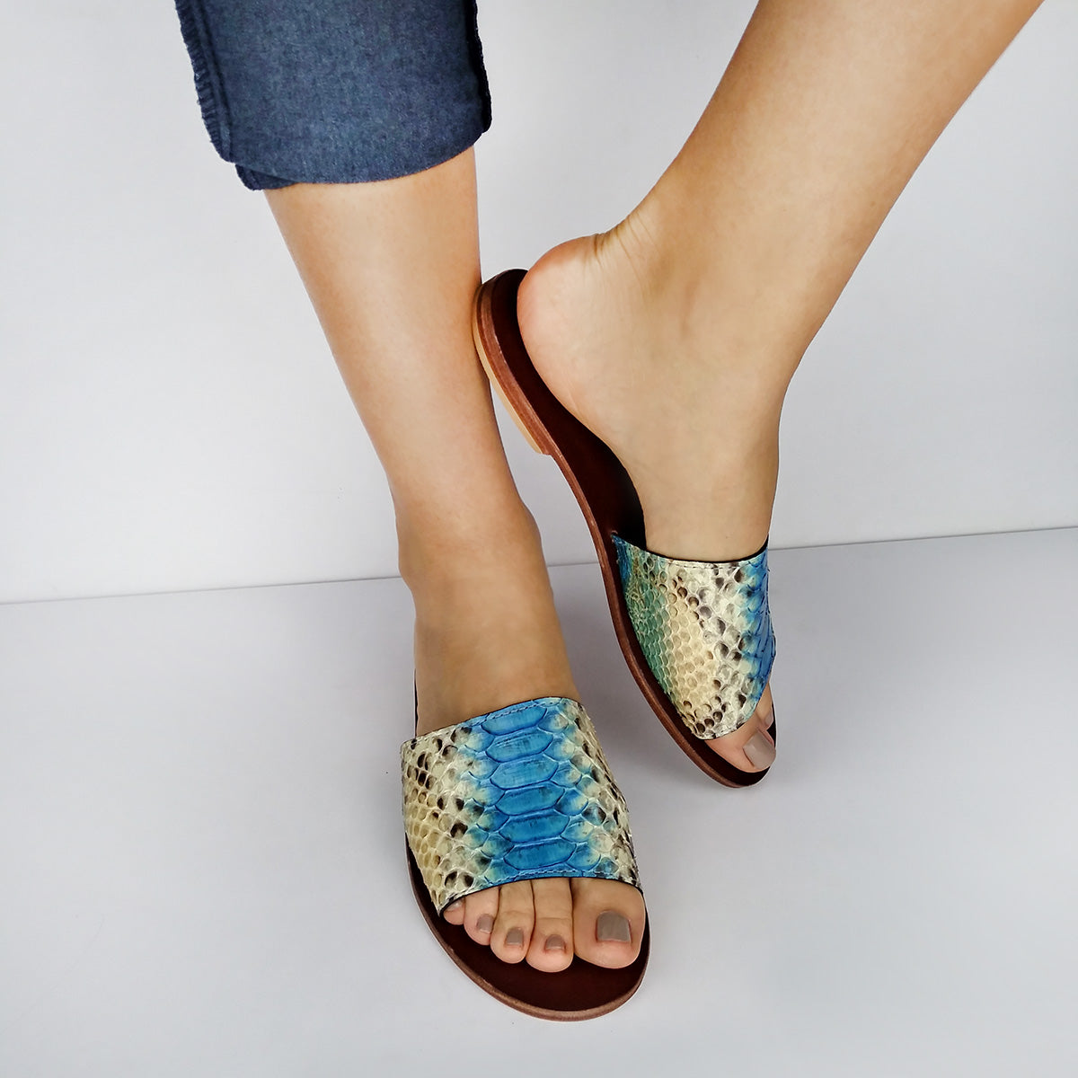 Genuine Python Cyan & Dusty Blush Flat Slide Sandals. Size Available 9. [NEW: NON-SLIP & SOLE PROTECTOR]