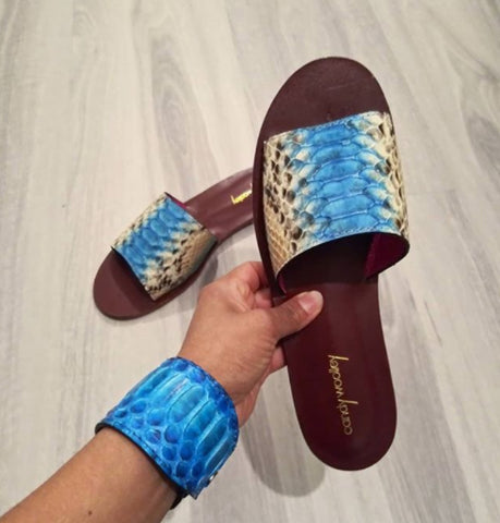 Genuine Python Cyan & Dusty Blush Flat Slide Sandals. Size Available 9