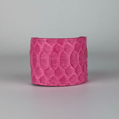 BUBBLE GUM PINK SNAKESKIN CUFF S/M ADJUSTABLE