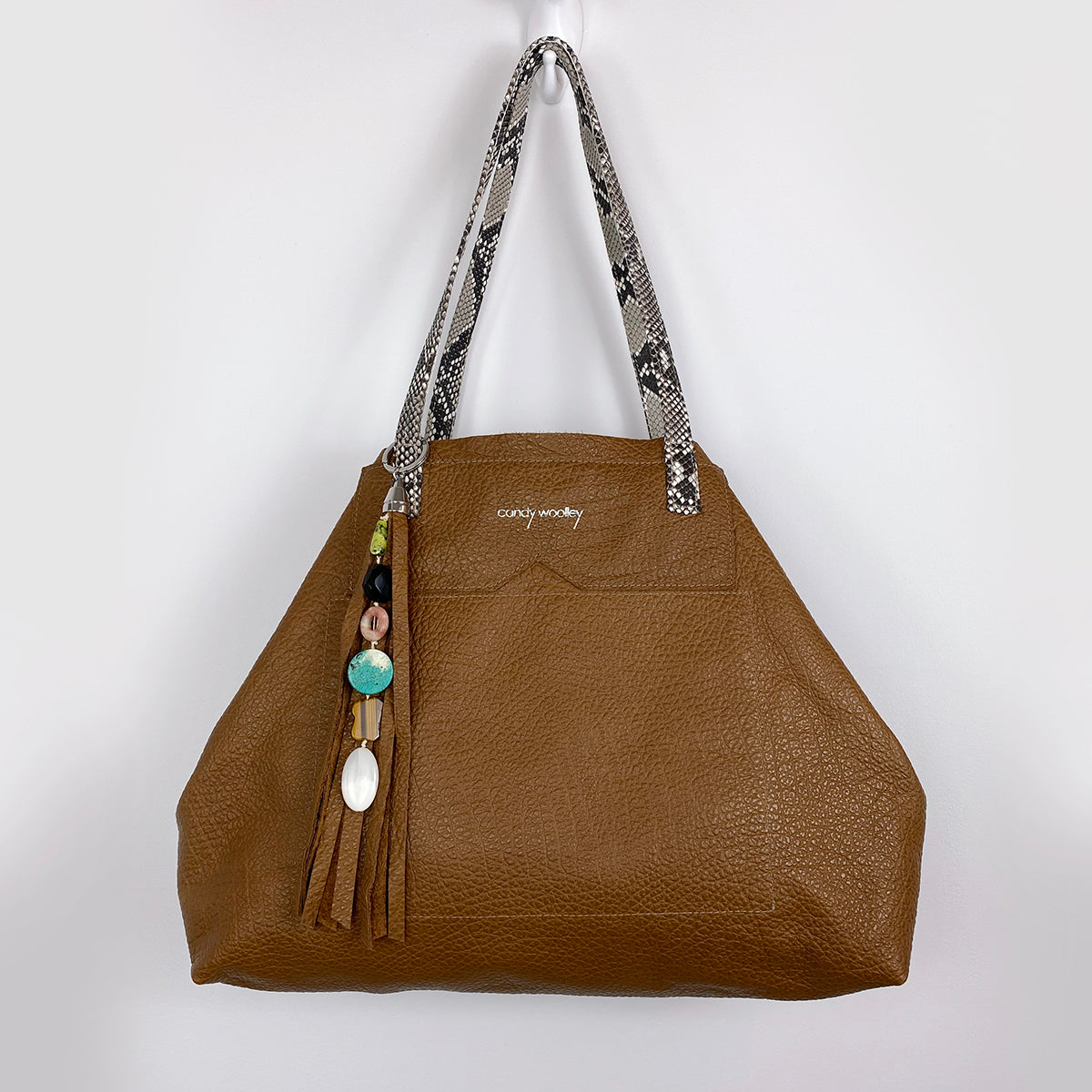BRUNY CAMEL GENUINE LEATHER TOTE, SNAKESKIN, STONE TASSEL