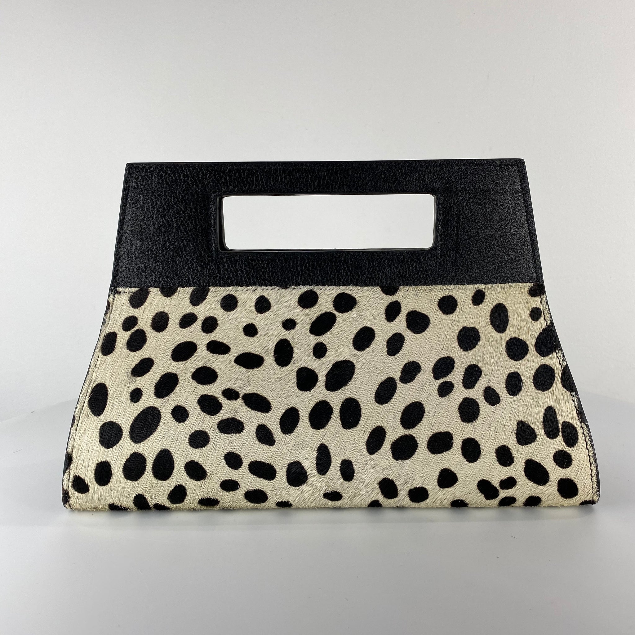 WINDOW BAG, CHEETAH-PRINT CALF HAIR