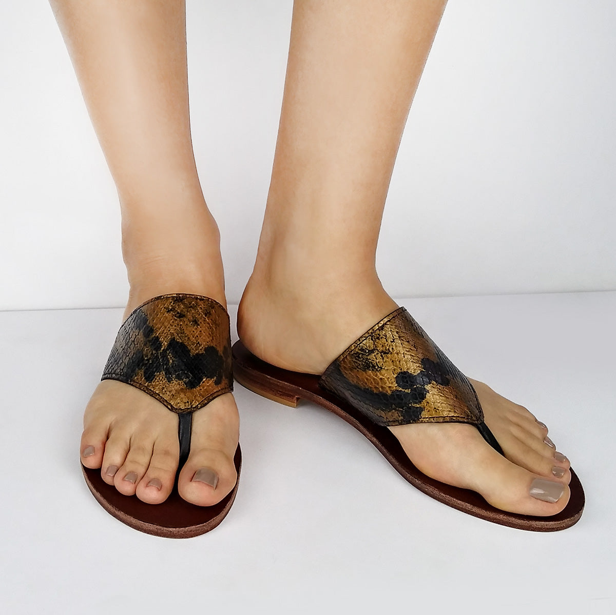 Genuine Python, Gold & Black Flat Thong Sandals. Size Available 9