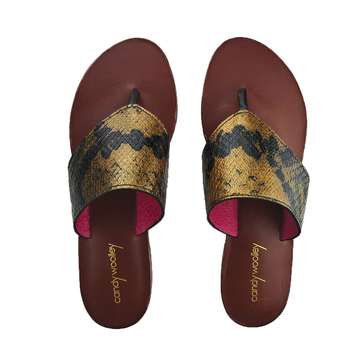 Genuine Python, Gold & Black Flat Thong Sandals. Size Available 9. [NEW: NON-SLIP & SOLE PROTECTOR]
