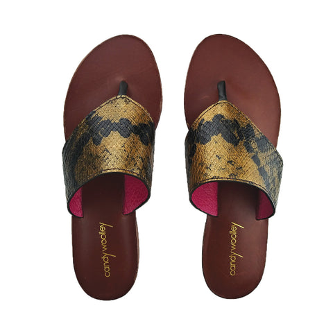 Genuine Python, Gold & Black Flat Thong Sandals. Sizes 6-11. [NEW: NON-SLIP & SOLE PROTECTOR]