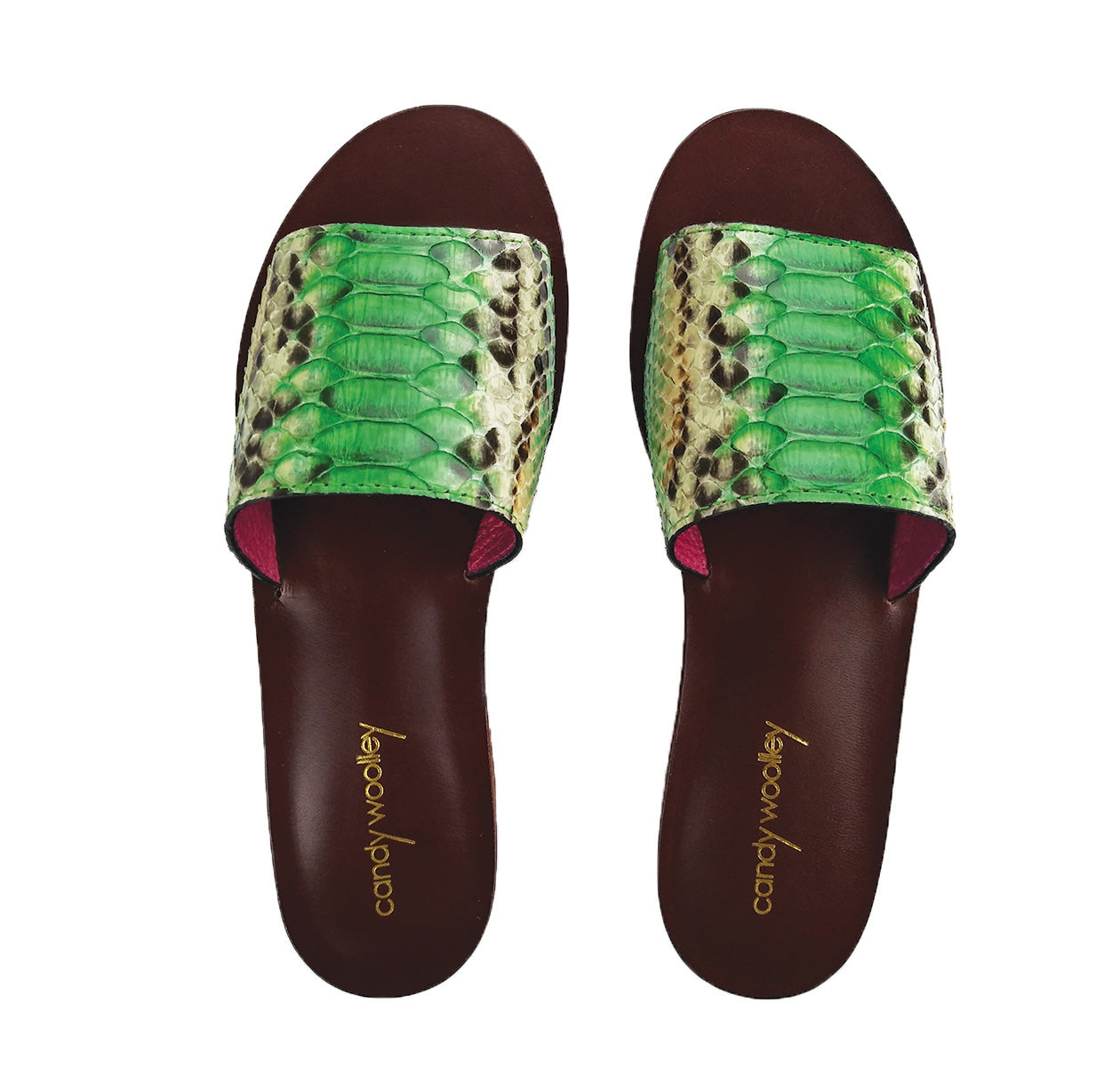 Genuine Python, Green & Cream Flat Slide Sandals. Size Available 7
