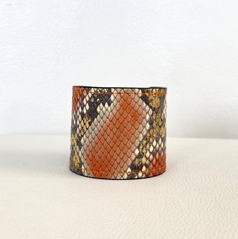 SMOKEY ORANGE/GOLD SNAKESKIN CUFF S/M ADJUSTABLE