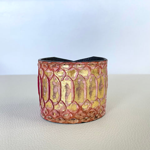 PINK/GOLD SNAKESKIN CUFF S/M ADJUSTABLE