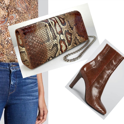 BOX CLUTCH. SNAKESKIN COGNAC