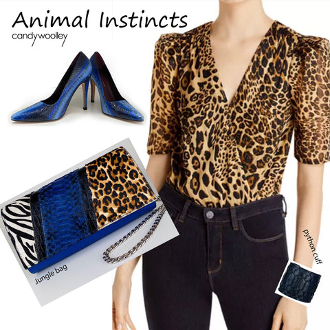 JUNGLE BAG, PATCHWORK ANIMAL-PRINT CALF HAIR, BLUE