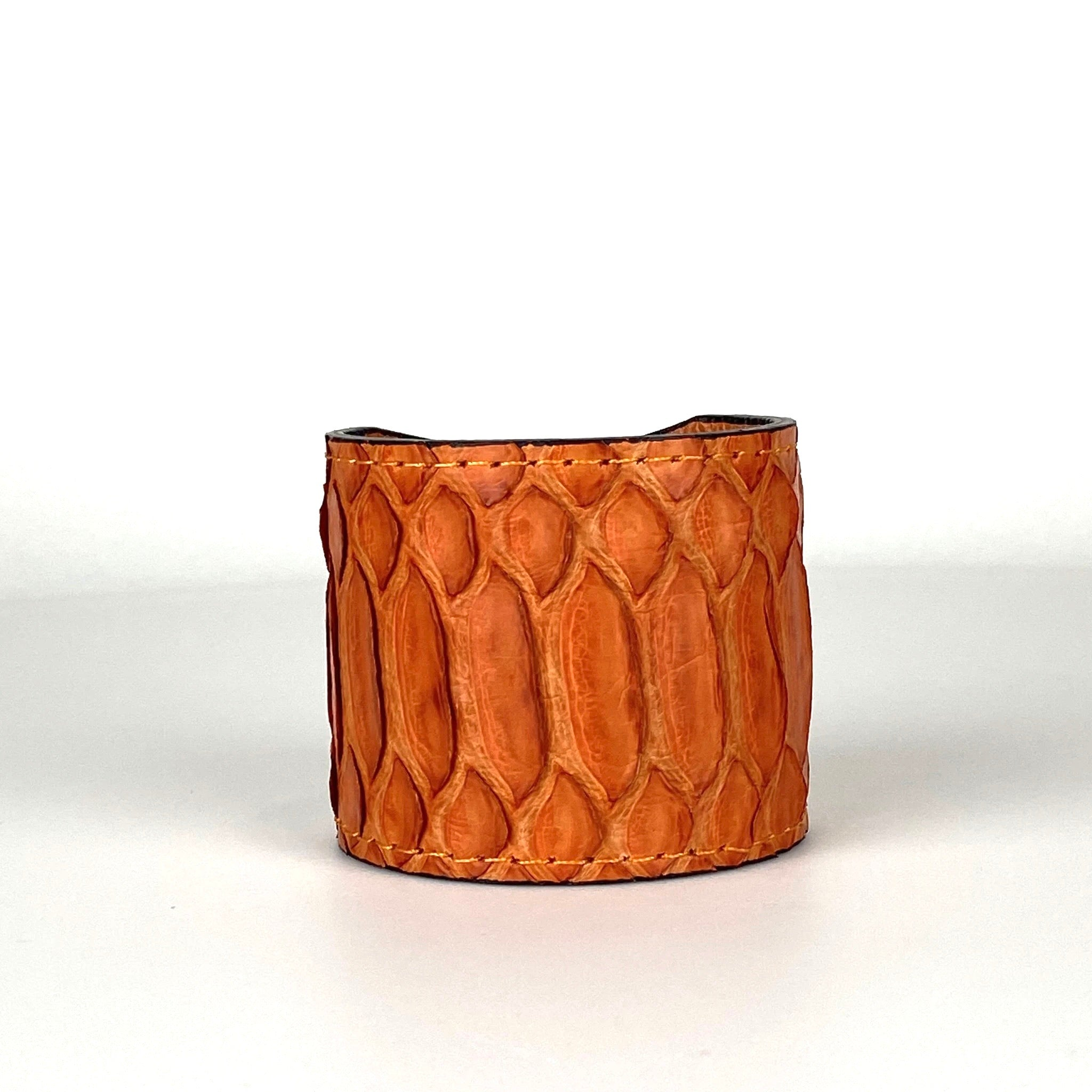 ORANGE SNAKESKIN CUFF S/M ADJUSTABLE