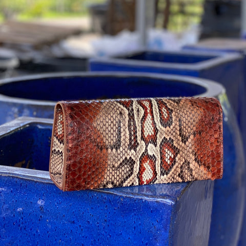 COGNAC BOX CLUTCH SNAKESKIN