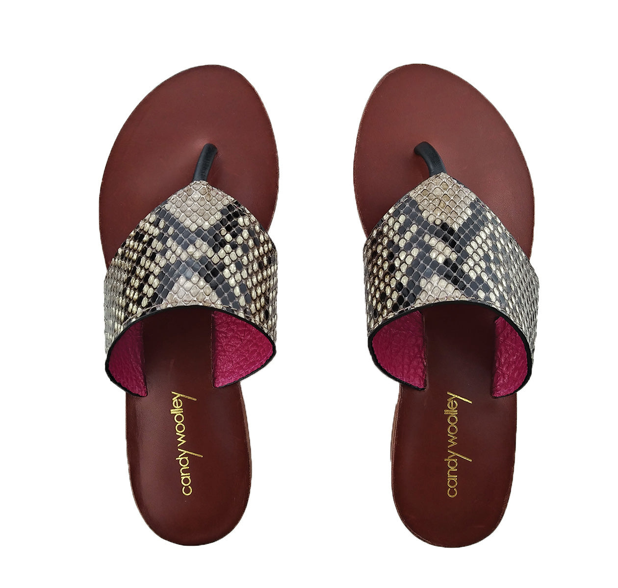 Genuine Python Flat Thong Sandals. Sizes Available 6-10