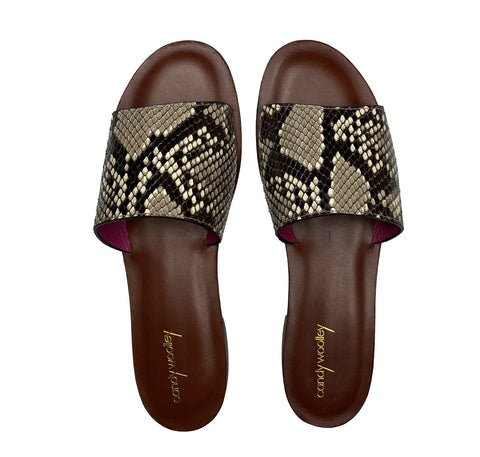 Natural with Black Markings Snakeskin Slide Sandals. Sizes 6-11. [NEW: NON-SLIP & SOLE PROTECTOR]