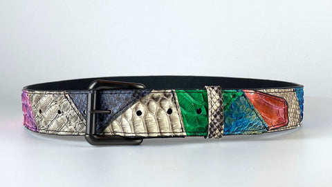 PATCHWORK SNAKESKIN BELT