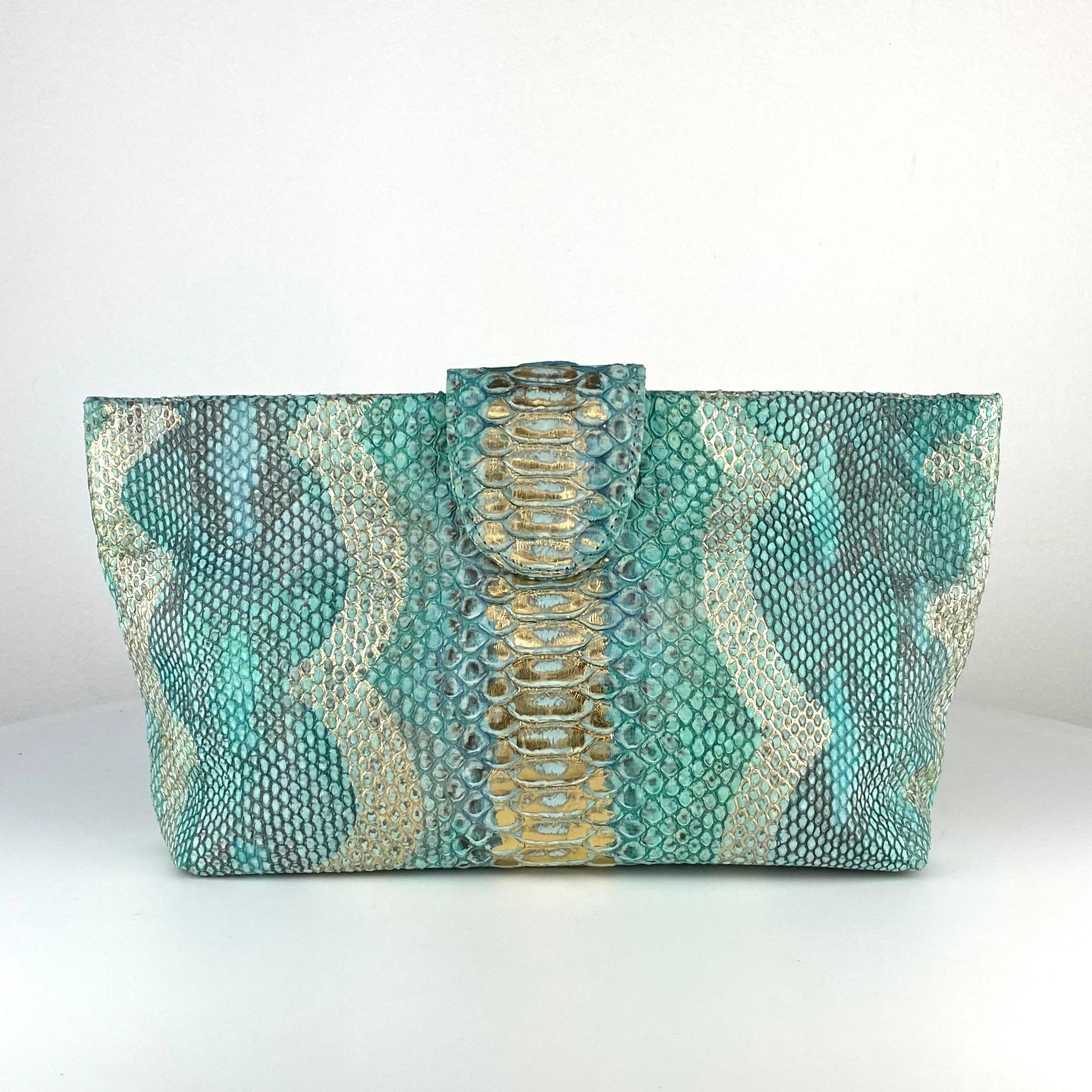 NELLY POUCH BAG, AQUA EXOTIC
