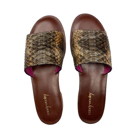 Taupe Neutrals. Snakeskin Flat Slide Sandals. Sizes 6-11. [NEW: NON-SLIP & SOLE PROTECTOR]