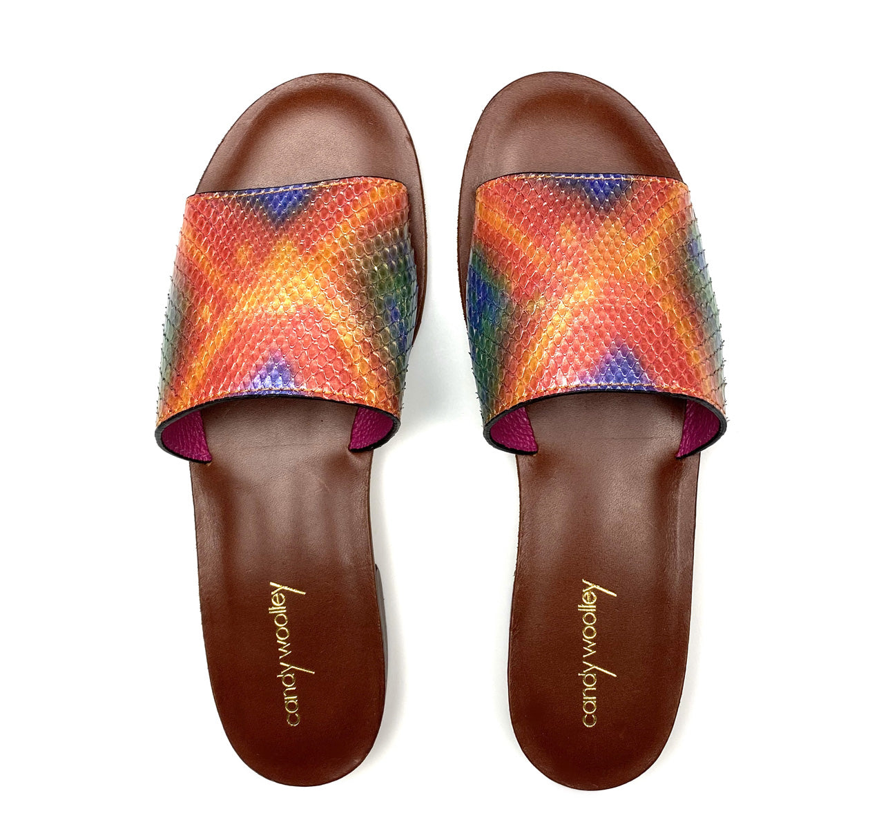 Multicolor Snakeskin Flat Slide Sandals. Sizes 6-11. [NEW: NON-SLIP & SOLE PROTECTOR]