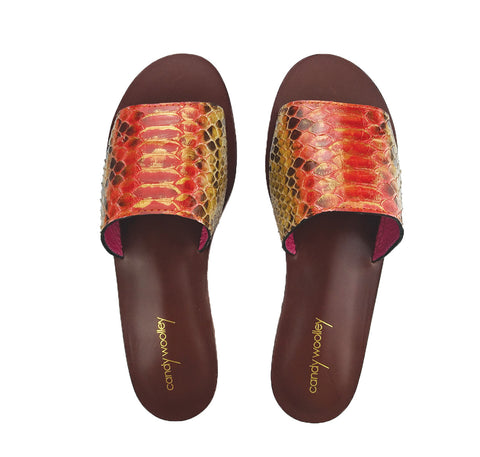 Genuine Python Orange and Gold Flat Slide Sandals. Sizes 6-11. [NEW: NON-SLIP & SOLE PROTECTOR]