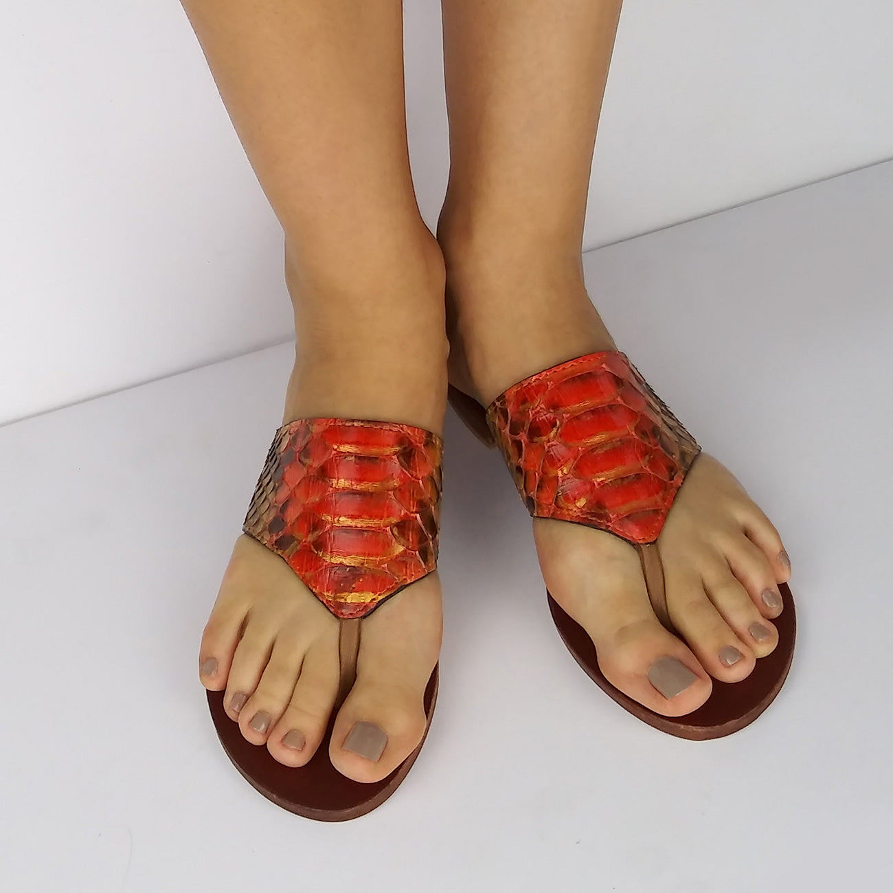 Genuine Python Orange and Gold Flat Thong Sandals. Size Available 7