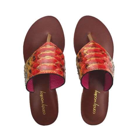 Genuine Python Orange and Gold Flat Thong Sandals. Sizes 6-11. [NEW: NON-SLIP & SOLE PROTECTOR]
