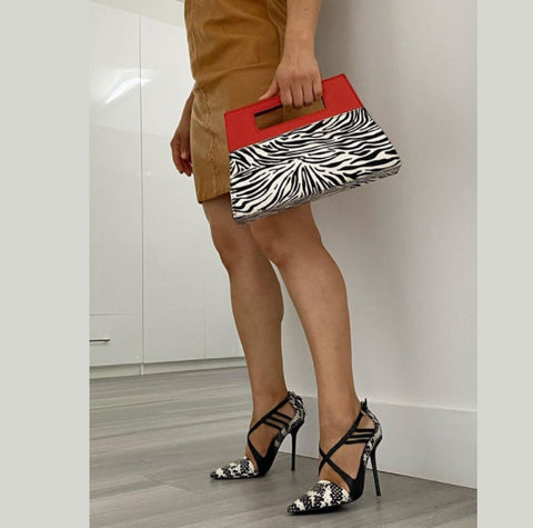 WINDOW BAG, CALF HAIR, ZEBRA-PRINT