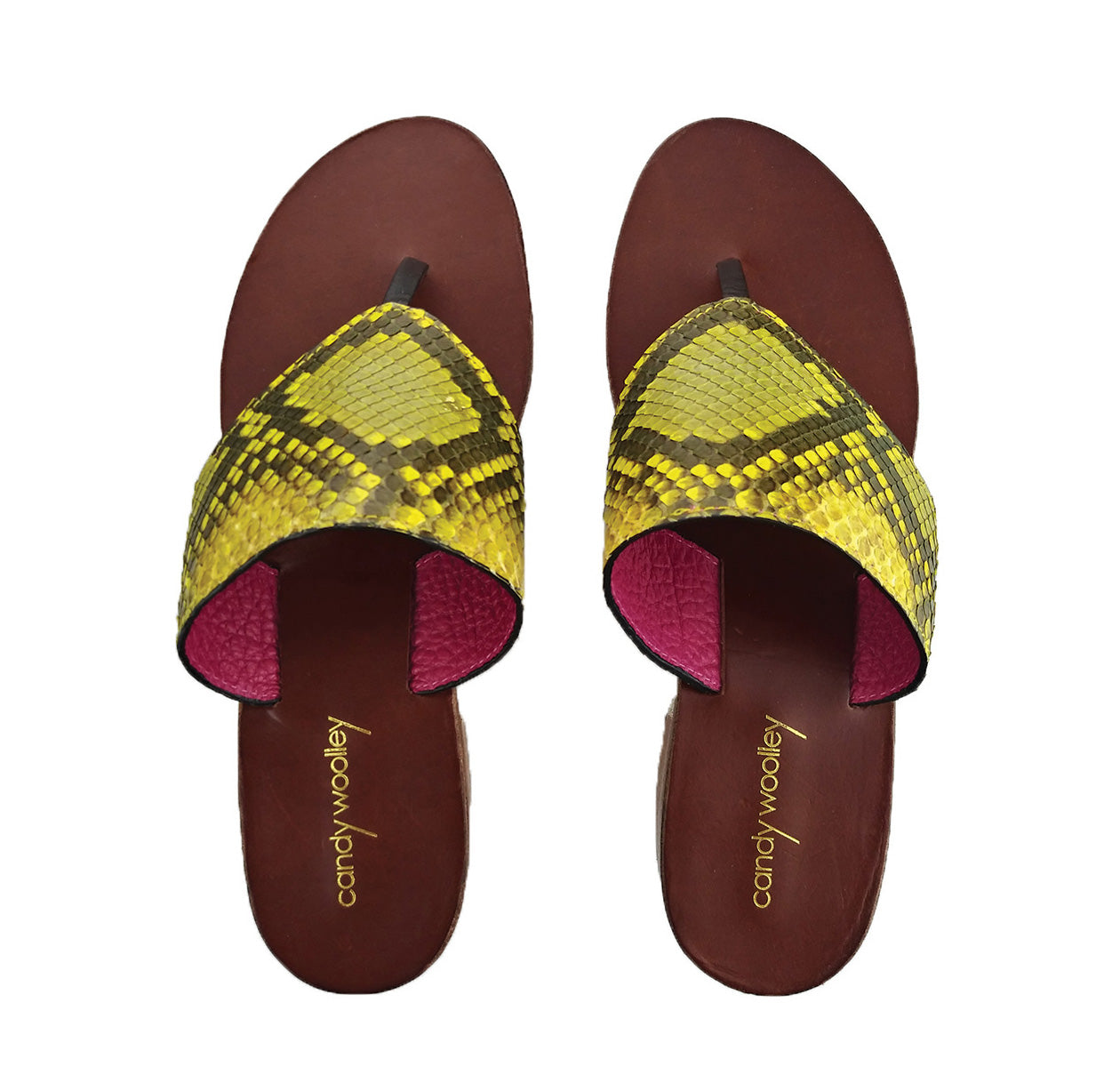 Genuine Python Yellow & Taupe Flat Thong Sandals. Size Available 9