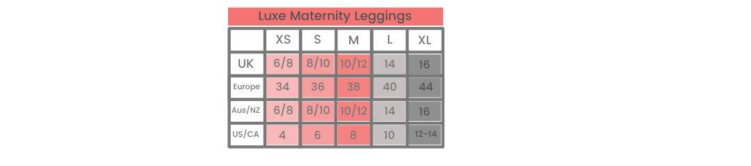 Luxe Maternity Leggings size guide