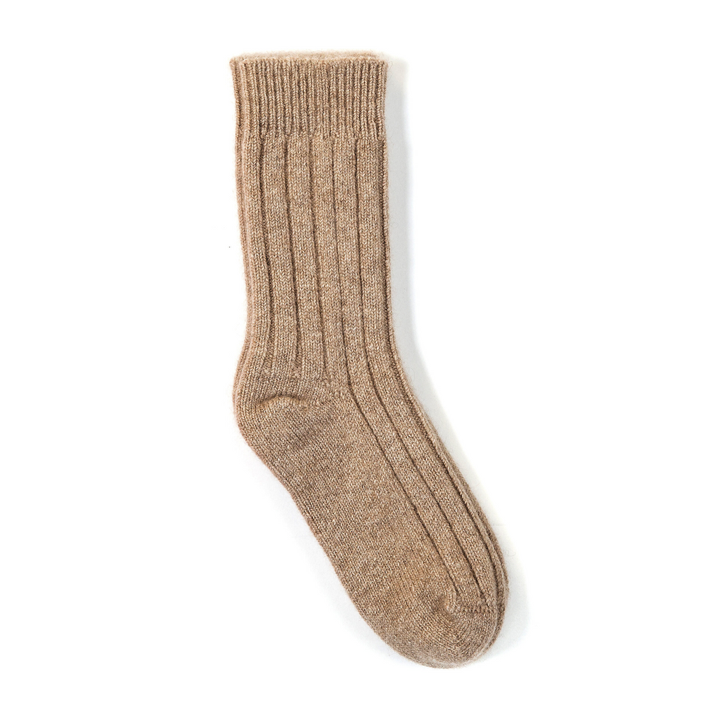 Ribbed Knit Cashmere Socks