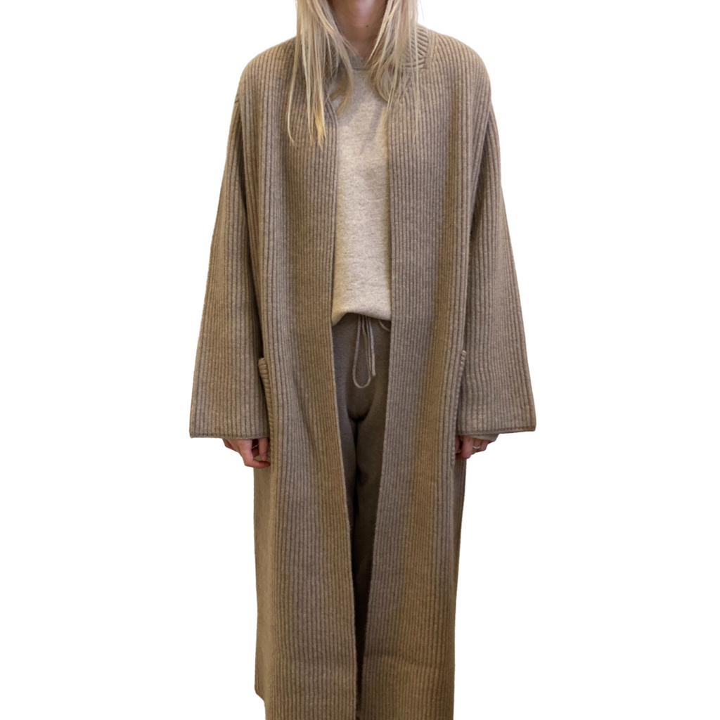 Cashmere Ribbed Coat- Light Brown