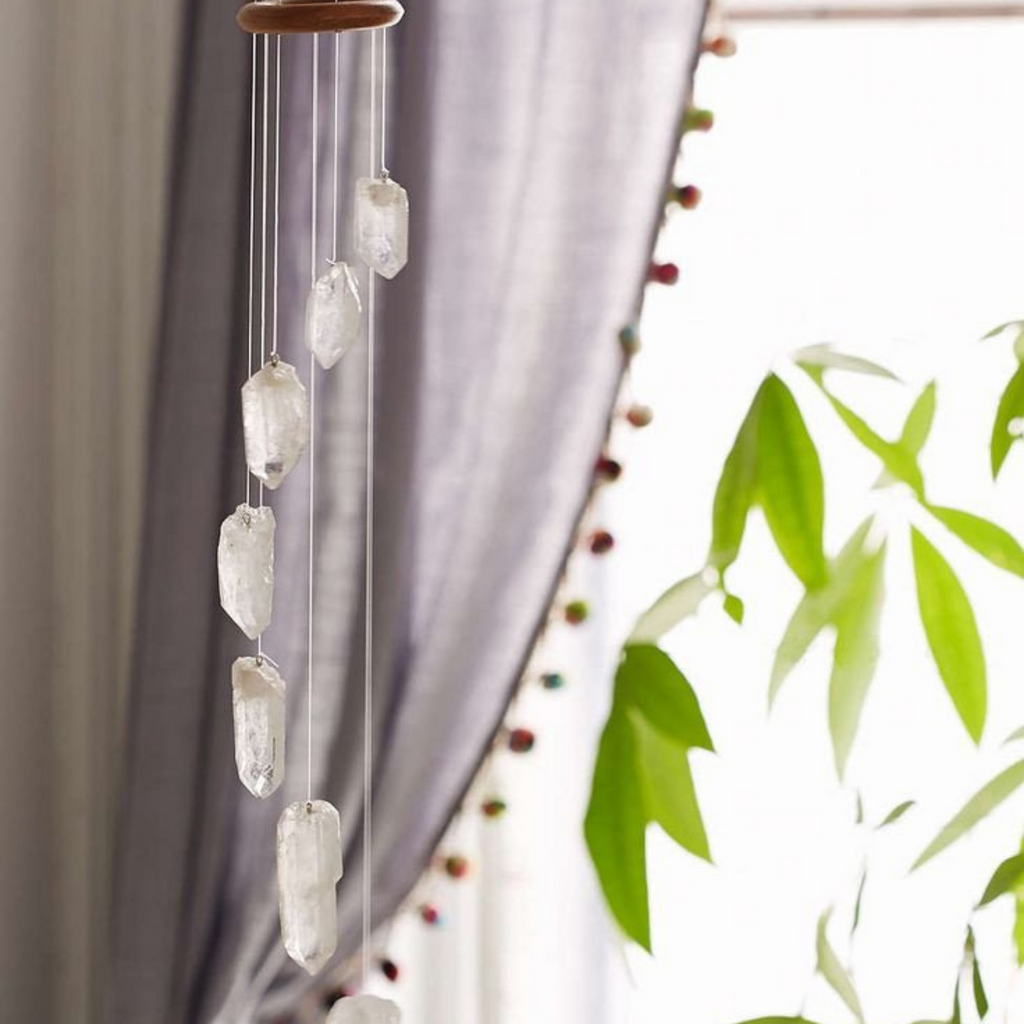 Clear Crystal Quartz Mobile Wind Chimes